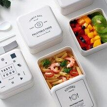 2 слоя микроволновой пластиковые Ланч-бокс фруктовый салат бенто коробка для кухни дети студенческий рабочий портативный контейнер для еды столовая посуда