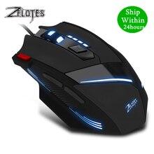 ZEALOT T 60 유선 게이밍 마우스 7 버튼 3200 인치 당 점 4 색 LED 라이트 광학 USB 컴퓨터 게이머 마우스 PC 노트북