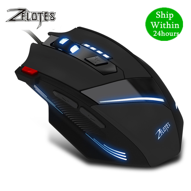 ZEALOT T 60 Wired Gaming Mouse 7 button 3200 DPI 4 Color LED Light Optical USB Computer Gamer Mice for PC laptop