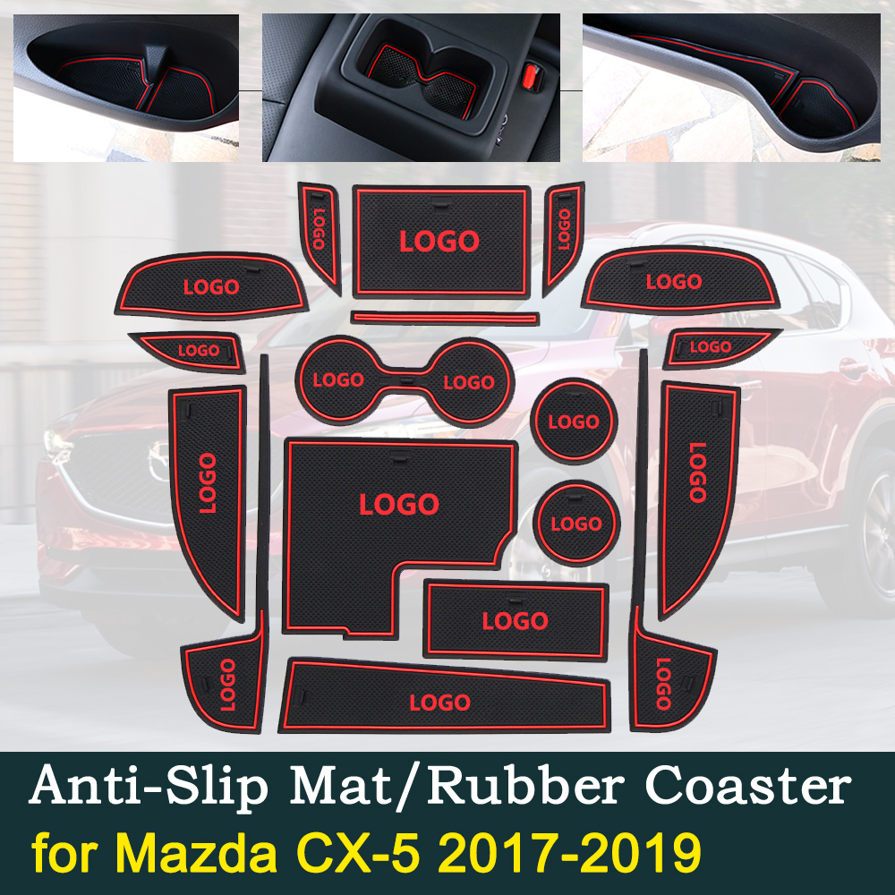 Anti-slip Door Rubber Cup Cushion for <font><b>Mazda</b></font> <font><b>CX</b></font>-<font><b>5</b></font> MK2 KF CX5 <font><b>CX</b></font> <font><b>5</b></font> Internal 2017 <font><b>2018</b></font> 2019 Groove Mat Car <font><b>Interior</b></font> <font><b>Accessories</b></font> image