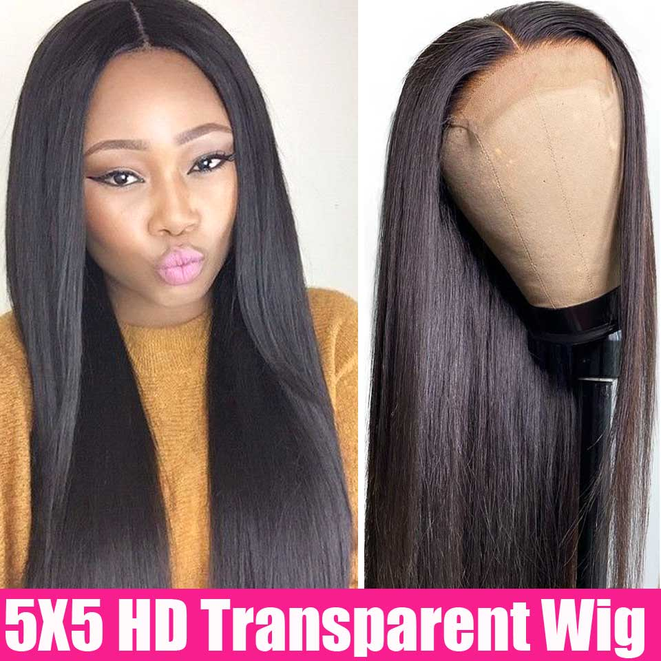 13x4 HD Transparent Lace Frontal Wigs 4x4 5x5 Lace Closure Wig 13x6 Lace Front Human Hair Wigs Brazilian Straight Lace Front Wig