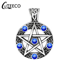 CUTEECO Vintage Style Witch Necklace Gothic Pewter Pentagram Pentacle Pagan Wiccan Pandent Necklace for Men Jewelry цена