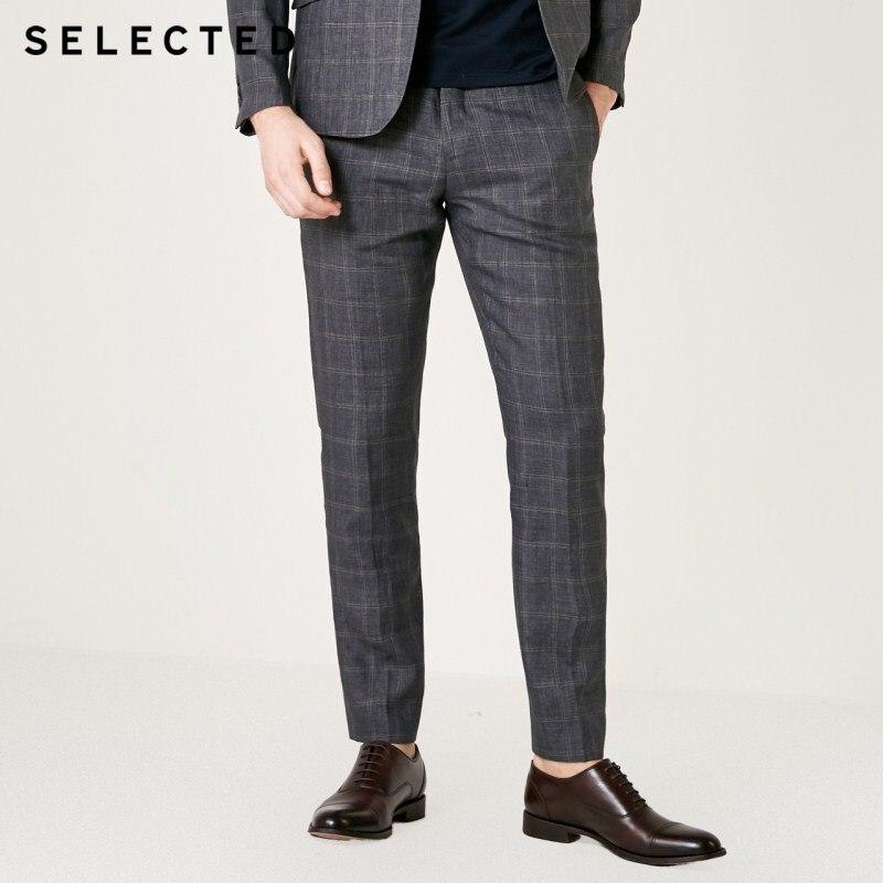 SELECTED Men's Slim Fit Linen Plaid Business-casual Suit Pants S|419218510