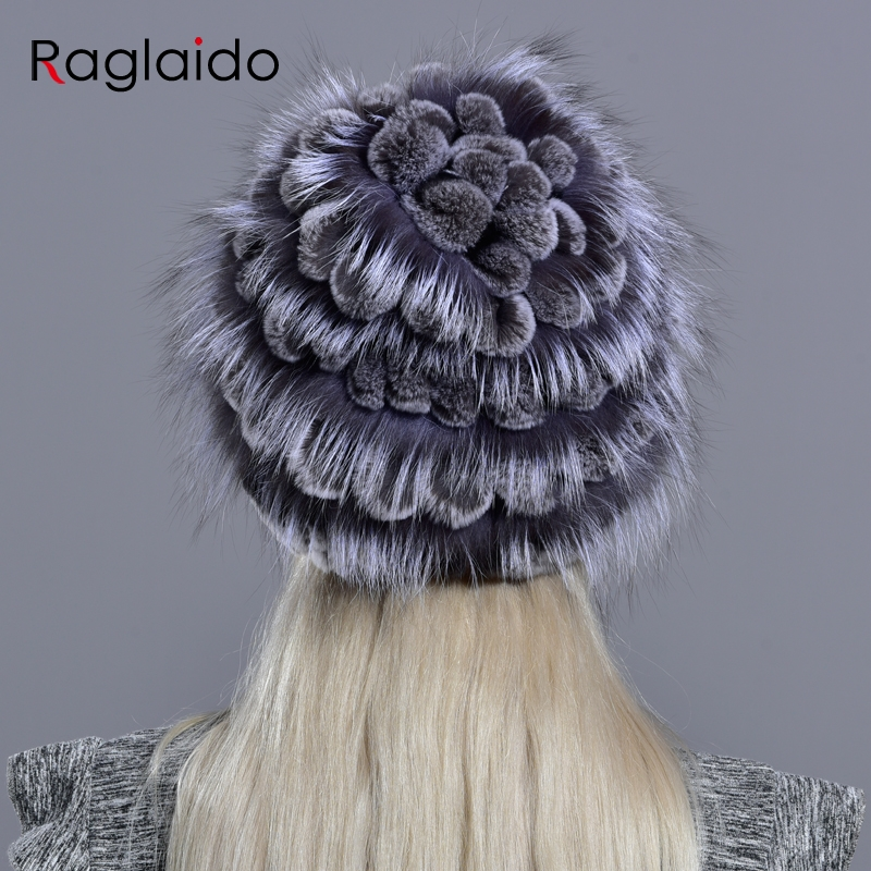 Image 4 - natural fur hats for women  winter knitted rabbit rex hand sewn real fur warm floral elegant girls fashionable stylish hatWomens Bomber Hats   -
