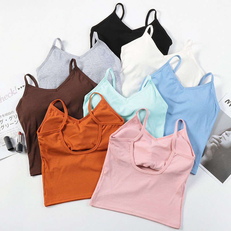 Girls Sexy Hollow-out Short Camis   Tops   With Seperated Bra Women Backless Padding   Tanks   Crop   Tops   For Female