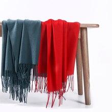 Зимний женский шарф, тонкие шали и палантины для девушек, Длинный Сплошной хиджаб, палантины, кашемировые шали из пашмины, кашемировые шали, осенние шарфы