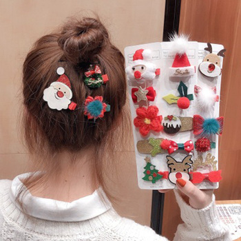 New Christmas Hair clip for women Korean Childlike Cartoon Animal Leather Side Clip Hairpin Headdress for Girl image