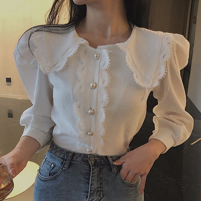 Shirt Women's New Fashion In Autumn And Winter 2019, Lace Baby Collar Temperament, Thin Shirt, All Kinds Of Foam Sleeve Top Fash