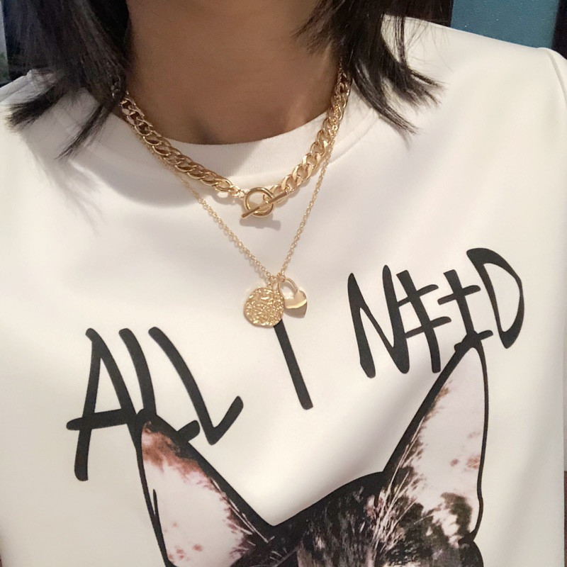 Gold Color Steel Multi-layer Cuban Link Chain Heart Pendant Lock Necklace Hip-hop Cool Handsome Clavicle Chain Exaggerated