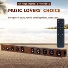 40W Wooden TV SoundBar Bluetooth Speaker Home Theater System 3D Surround Sound Bar Subwoofer Audio Remote Control Wall Mountable