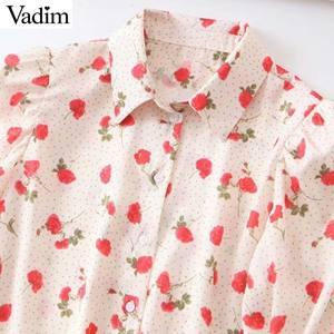 Image 3 - Vadim women sweet floral print blouse long sleeve turn down colllar shirt female causal cute fashion tops blusas LB357