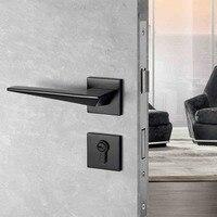 1 Set Simple/black Door Lock American Style Bedroom Door Handle Lock Interior green bronze Door Handle with key Lock
