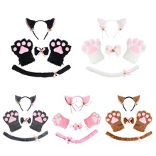 Women Lady Cat Kitty Maid Cosplay Costume Set Plush Ear Bell Headband Bowknot Collar Choker Tail Paws Gloves Anime Props