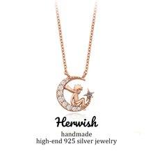 Herwish colgante de plata de primera ley con forma de rosa para mujer, collar, Gargantilla, plata esterlina 925, Circonia cúbica, zirconia, circonita, zirconita, el Principito
