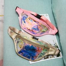 New Women Fanny Pack Laser Transparent Waist Fashion Female Waterproof Clear Punk Holographic Belt Bum Bag