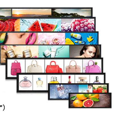 Supermarket Shelf 23 Inch Ultra Wide Monitor Screen Stretched Bar Type LCD Advertising Display