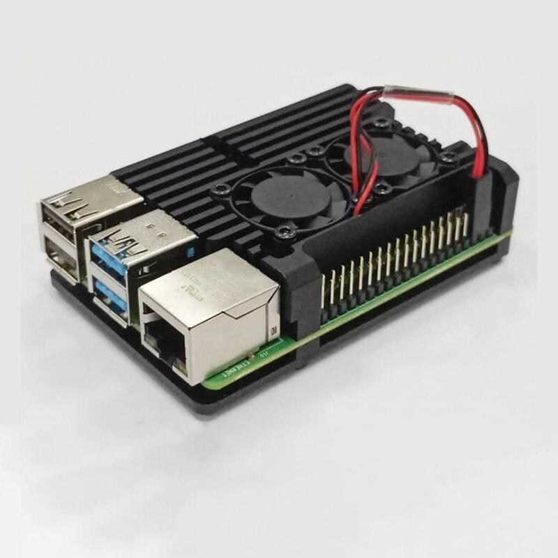 Чехол из алюминиевого сплава для Raspberry Pi 4 Model B Black Armour с двойными вентиляторами охлаждения