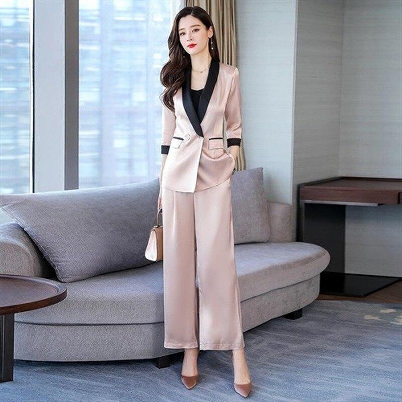 High Quality Women's Suit Pants Two Piece Set Spring 2020 Casual Pink Ladies Blazer Jacket Feminine Elegant Wide-leg Pants