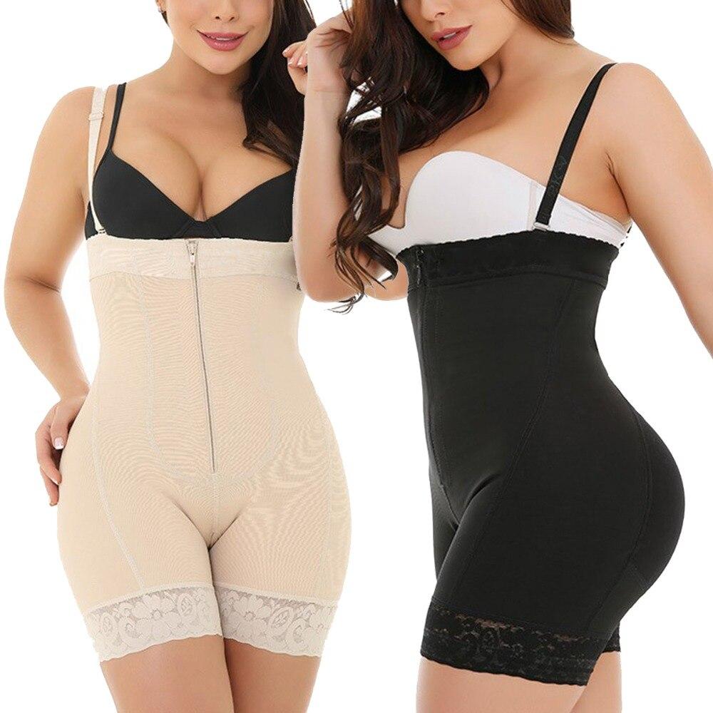 2019 Ladies Sexy Black Zipper Front Body Shapers 6XL Plus Size Tummy Control Underbust Bodysuit Underwear Slimming Body Shaper (1)