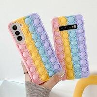 Funda de teléfono antiestrés para Samsung Galaxy S9, S10, S20, S21 Plus, A50, A71, Note 9 Pop, juguetes antiestrés, funda de silicona suave con burbujas