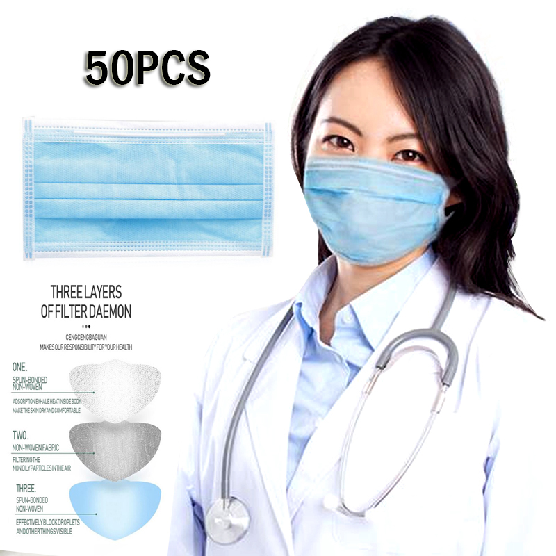 50pcs High Quality 3 Layers Activated Bamboo Carbon Prevent Anti Virus Formaldehyde Bad Smell Bacteria Proof Face Mouth Masks