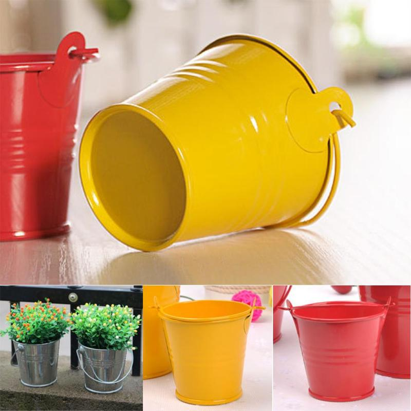 1Pcs Mini Bucket Home Potted Candy Color Iron Barrel Bucket Flowerpot Craft Ornaments Potted Craft Ornaments