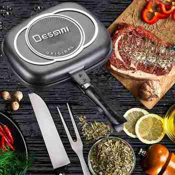 32Cm Double Sided Frying Pan Injection Molding Factory Outlet Steak Frying Pan Grill Pan Kitchen Cookware air frying pan new special price large capacity intelligent oil smoke free fries machine automatic electric frying pan 220v 3l