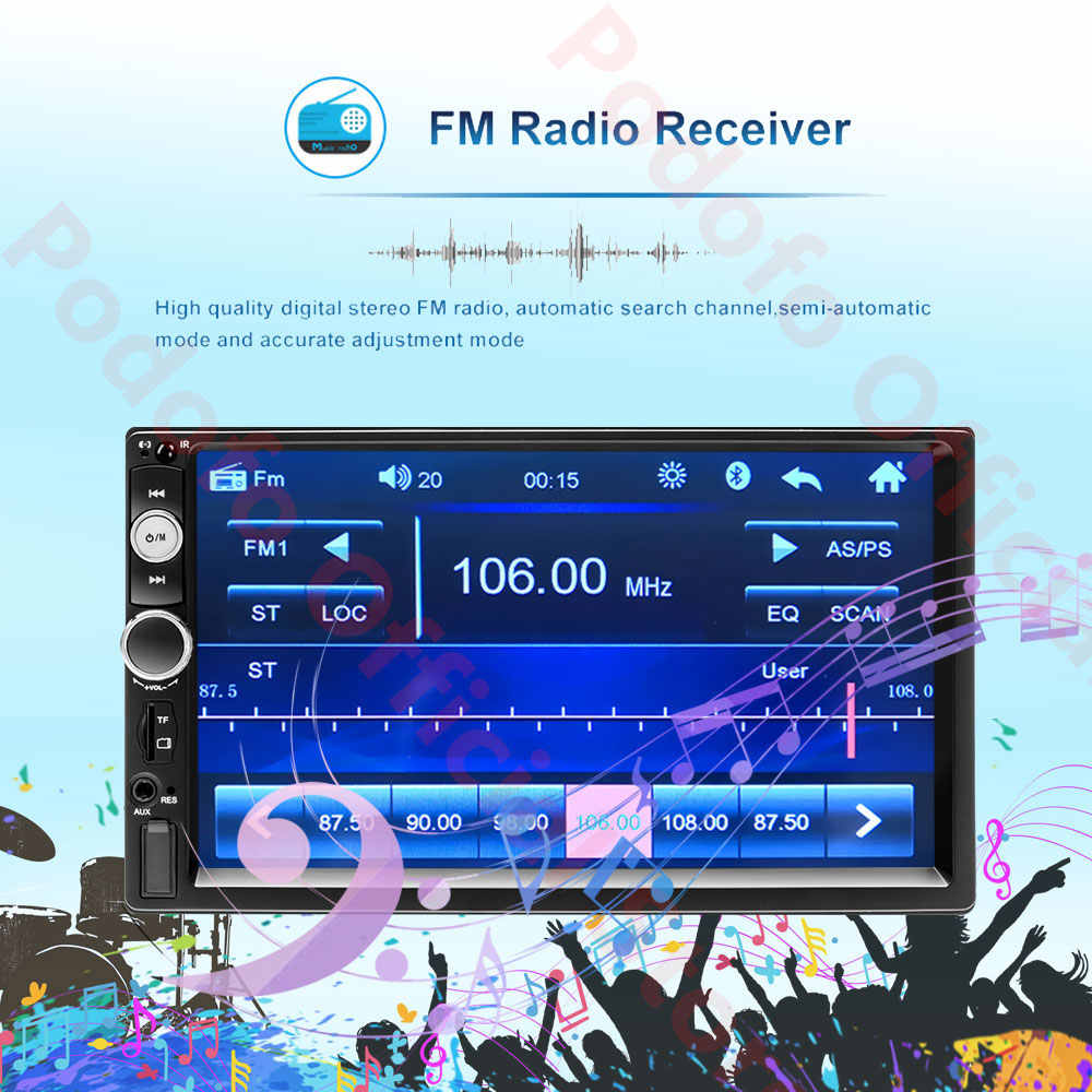 "Podofo 2 din auto radio 7 ""Touch Digitale Display MP5 Auto Car audio Autoradio Bluetooth USB 2din Multimedia Speler backup Monitor"