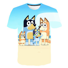 2021 New T-Shirts for Girls and Boys Kids Clothes Funny Style 3D Printing BLUEY T-Shirt 4-14Y Children Clothing Girls Funny Tees