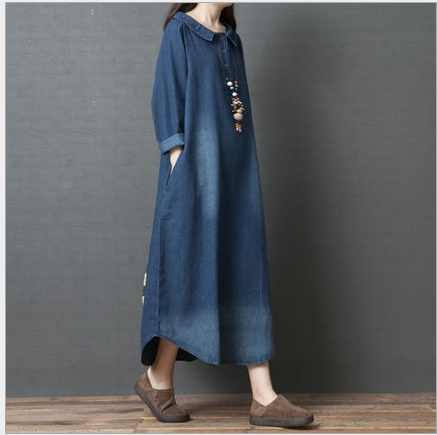 Spring New Denim Long Dress 2019 Loose Turn-down collar Long Sleeve Cotton Blue Dress