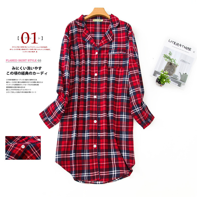 Winter Spring  Nightgowns Women Casual Night Dress Stripe Polka Dot 100% Brushed Cotton Sleepshirt Plus Size Nightwear Sleepwear 1