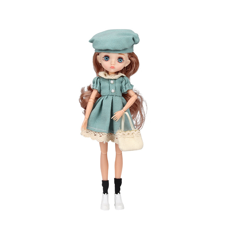 26cm 1/6 Bjd Doll With Clothes Blue 3D Eyes 11 Movable Joints Eyelashes Long Hair Wig Dress Up DIY Toy For Girls Fahsion Gift 9