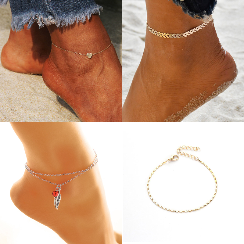New Anklet Ankle Leg Bracelets For Women Stainless Steel Beads Feet Chain Summer Beach Barefoot Sandals Foot Jewelry
