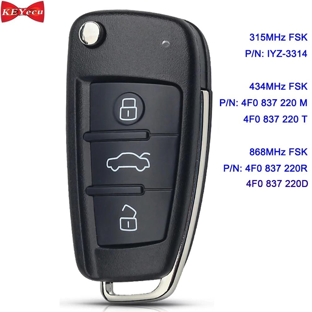 KEYECU для Audi A6 Q7 S6 дистанционный ключ брелок IYZ-3314 4F0837220N / 4F0837220M / 4F0837220T / 4F0837220R / 4F0837220D 8E чип