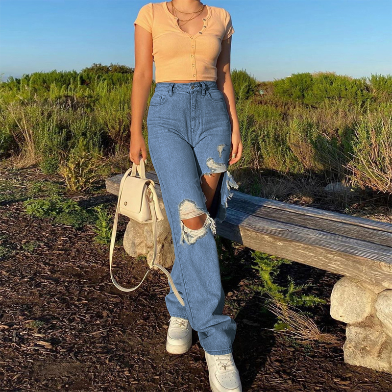 Straight Leg Distressed Torn Ripped Jeans