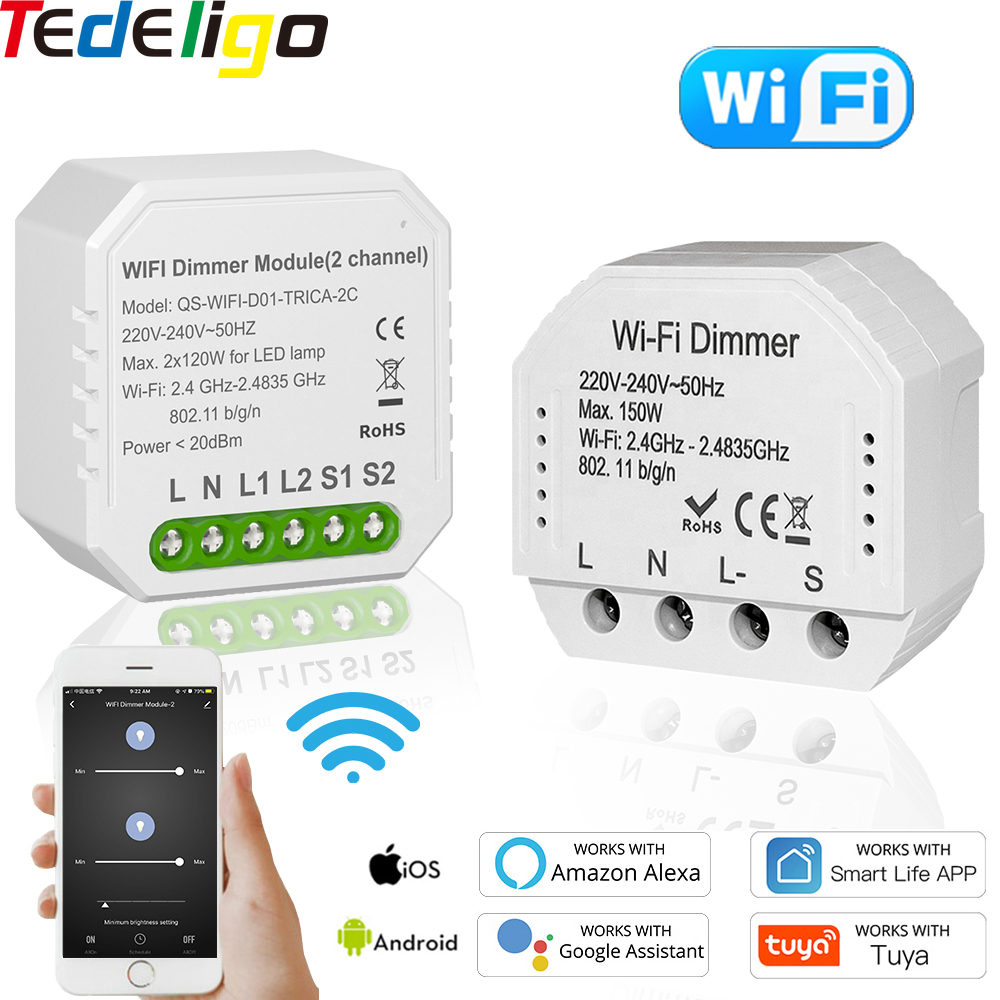 Tuya vida inteligente atenuador WiFi interruptor 1/2 2Way 220V 240V interruptor para Control remoto LED de voz Control de temporizador Google HomeAlexa