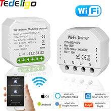 Tuya akıllı yaşam WiFi Dimmer anahtarı 1/2Gang 2Way 220V 240V kesici modülü uzaktan kumanda LED ses zamanlayıcı kontrolü Google HomeAlexa