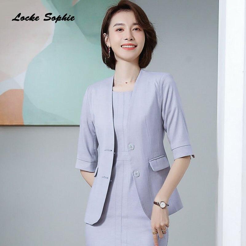 1pcs Women's Plus Size Blazers Coats 2020 Summer Cotton Blend Button Splicing Suits Jackets Ladies Skinny Blazers Suits Coats
