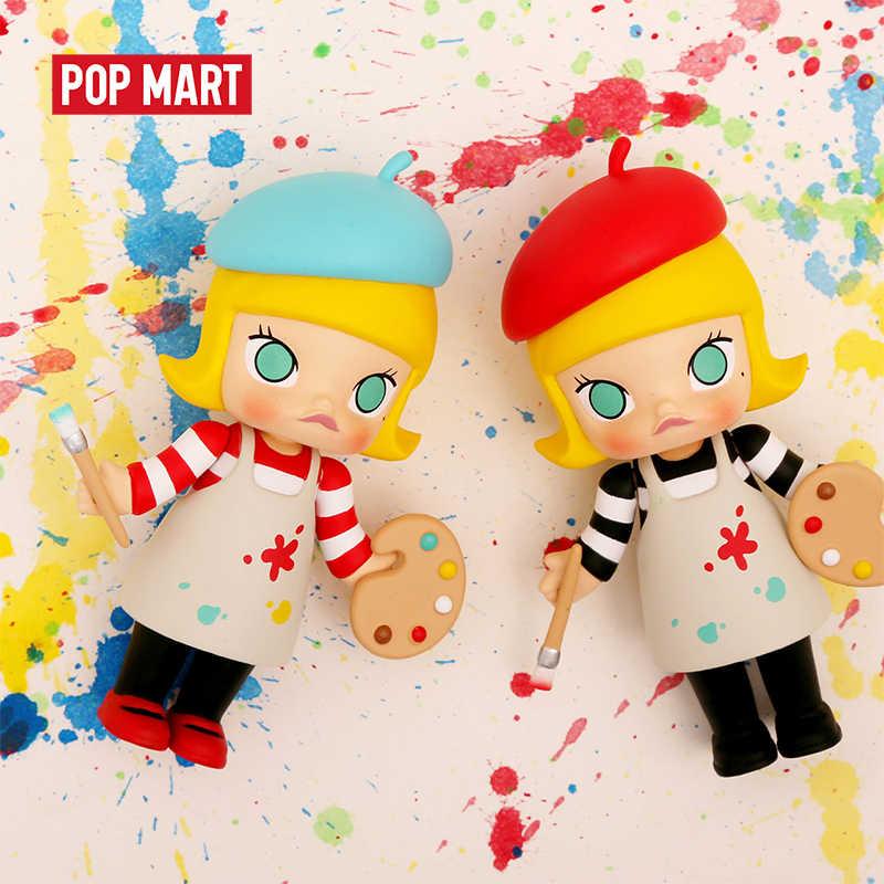Popmart molly carreira arte brinquedos figura caixa aleatória presente cego caixa de ação figura presente aniversário brinquedo do miúdo frete grátis
