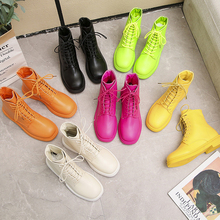 Colorful Martin Boots Women Orange Green Combat For 2019 New Autumn Black White Ankle Yellow Pink