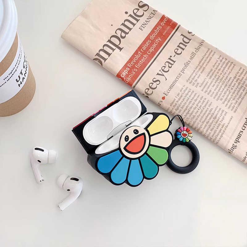 3D 村上隆 Kaikai キキレインボーフラワーヘッドフォン Apple の Airpods 1/2/3 シリコーンイヤホンカバー airpods ためのプロ