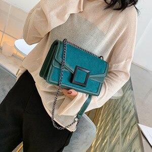 Image 2 - Scrub couro corrente crossbody sacos para as mulheres 2020 inverno ombro simples bolsa de viagem feminina bolsas de telefone celular