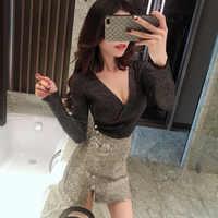 Printemps 2019 nouveau Style pull Sexy profond V ling liang fil croix coupe mince minceur à manches longues vêtement supérieur femmes H3297