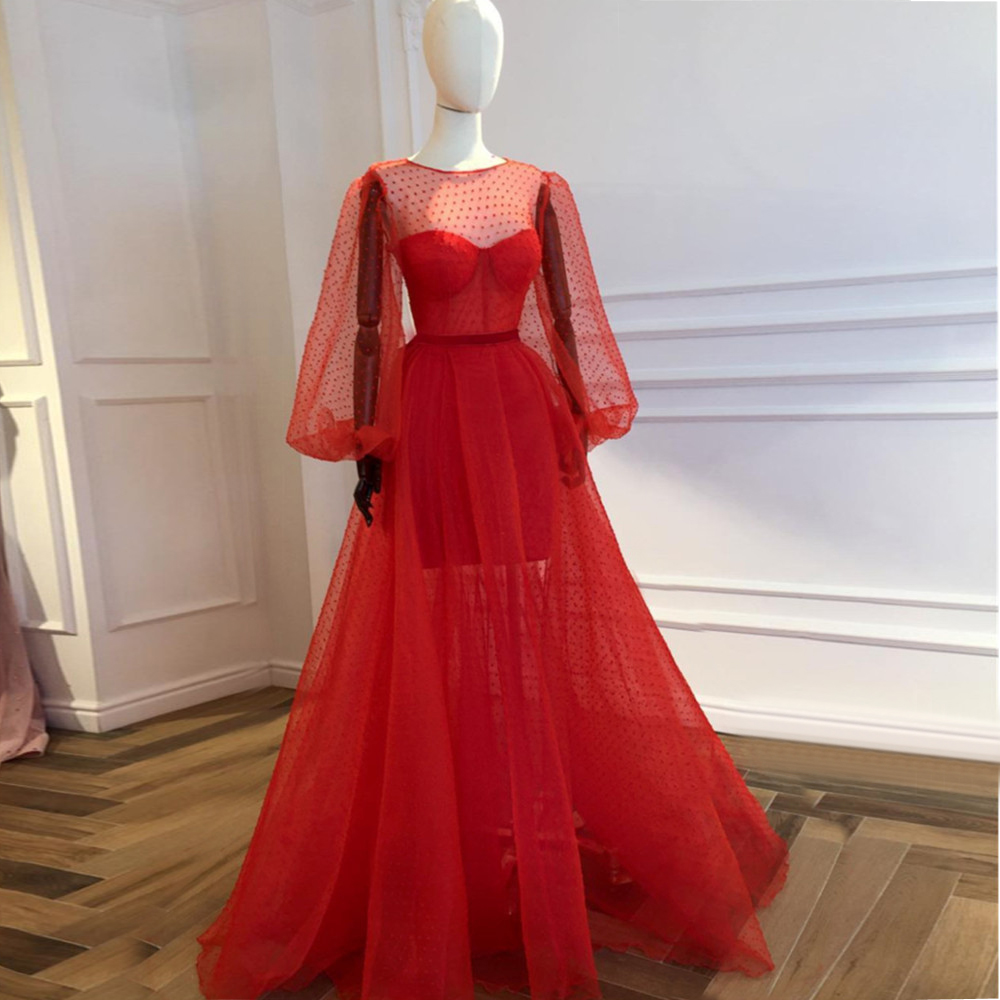 Custom Made Red Illusion Long Sleeve Evening Dress 2020 Custom Made Puffy Tulle See Through Special Occasion Dresses Cheap