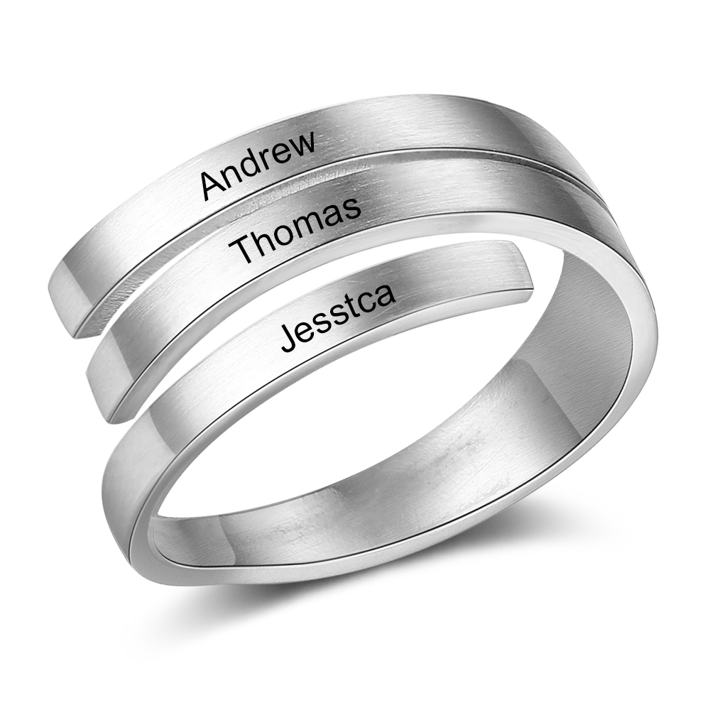 Personalize-Ring Engagement Gift Stainless-Steel Adjustable Simple Jewelry Modern Fashion