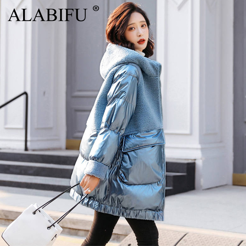 ALABIFU Faux Fur Coat Women 2019 Casual Plus Size Thick Warm Jacket Faux Lamb Coat Hoodies Winter Coat Women Casaco Feminino