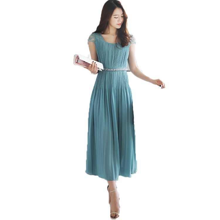 2020 damska letnia długa plisowana sukienka Elgant plaża koronkowa sukienka koreański Maxi sukienki dla kobiet Vestidos KJ2201