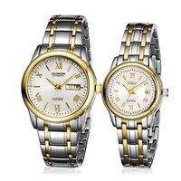 GUANQIN Watch Couple Set Stainless Steel 2020 Men Women Lovers Watch Date Ladies Wrist Watch Quartz reloj pareja hombre y mujer