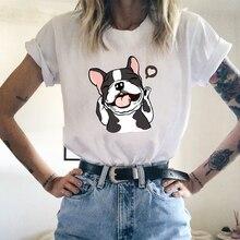 Dog Printing Short Sleeve Girls Fashion Regular Short-sleeve T Shirt Summer Cotton O-neck Tshirts For Female Women Casual Tees