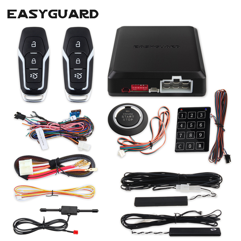 Quality EASYGUARD PKE passive keyless entry car alarm system remote engine start push button start stop